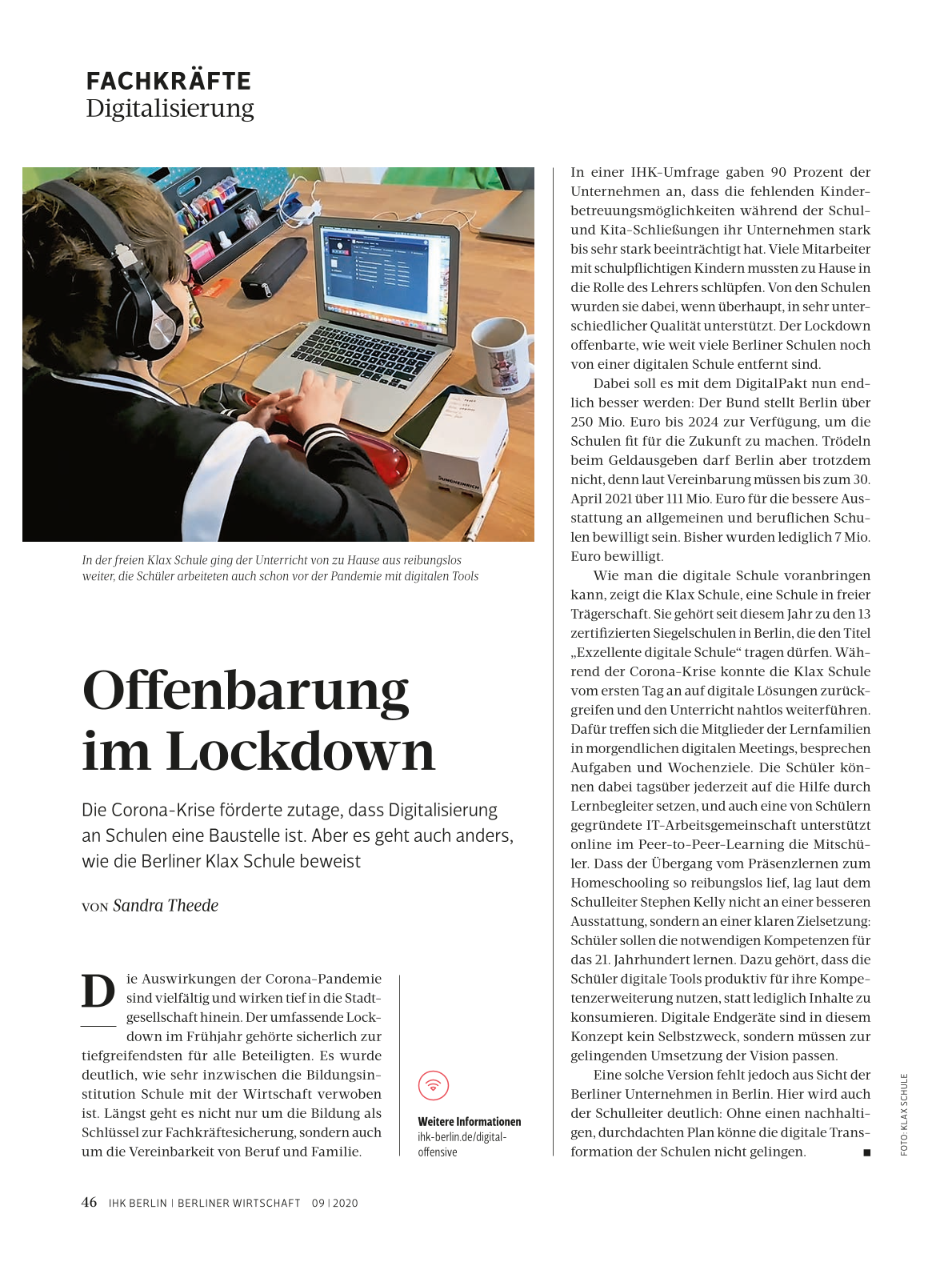 Klax Schule als Vorbild für digitale Transformation